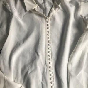 Cream silk button front blouse from Club Monaco